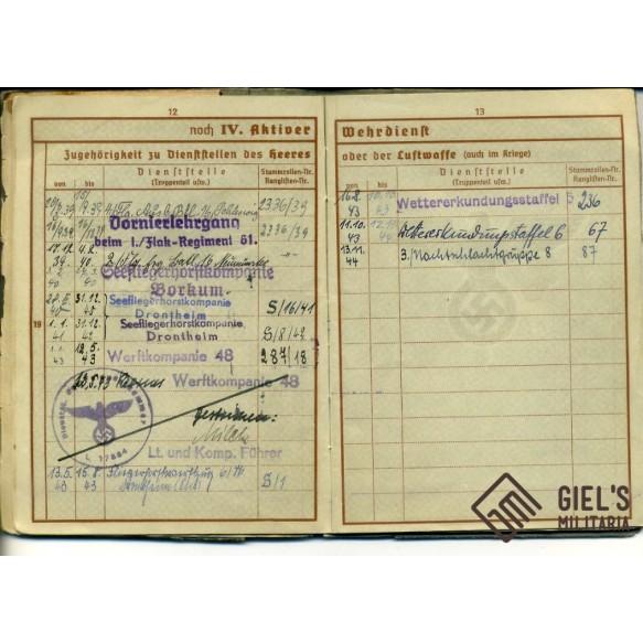 Wehrpass to H. Staack. Narvik 1940, Nachtschlachtgruppe 8, Battle of Britain