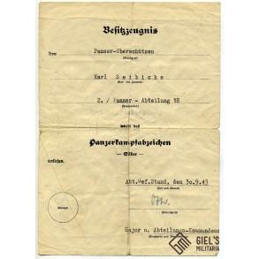 Panzer assault badge in silver award document Pz. Abt. 18, TIGER