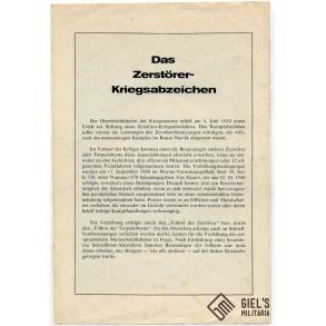 Period advertisement Kriegsmarine Destroyer badge