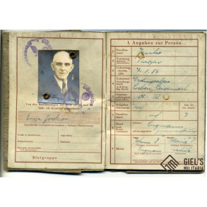 Wehrpass to K. Lenko, pass issued 1944, no active service.