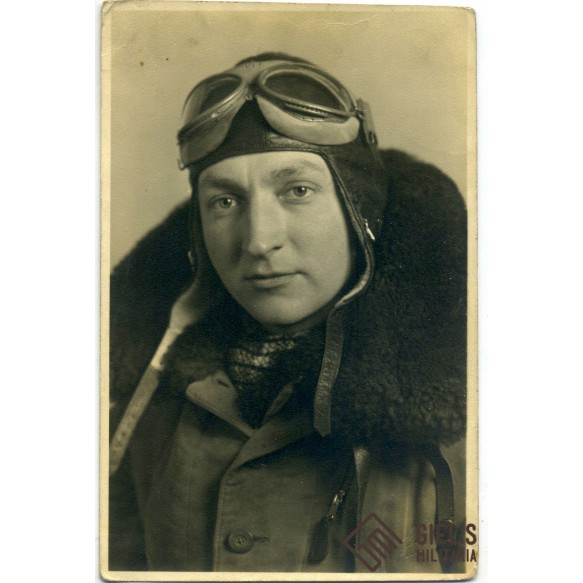 Portrait of pilot in winter overal