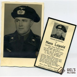 Portrait H. Leipold, panzermann with beret + death card. KIA Leningrad