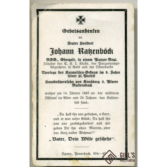 Death card to J. Ratzenböck, ROB, Panzermann, EK1, PAB75 (?)