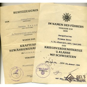 2 award document to OGefr. H. Hover, Heeres flak Abt 281, Normandy 1944!!!