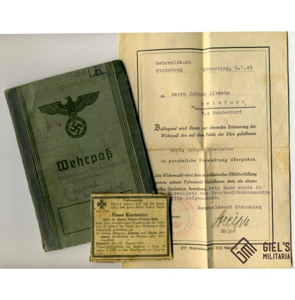 Wehrpass to J. Kiermayer, Panzer Pionier, WBiB, GAB, KIA 1944