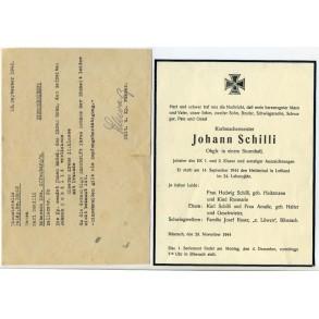 Small document grouping to J. Schilli, EK1 holder, pionier, KIA Letvia 1944