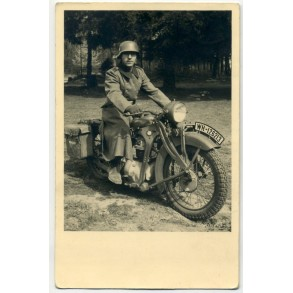 Photo with BMW motorcycle 1940