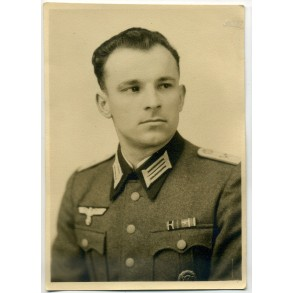"Portrait photo officer ""waffenmeister"" with ribbon bar"