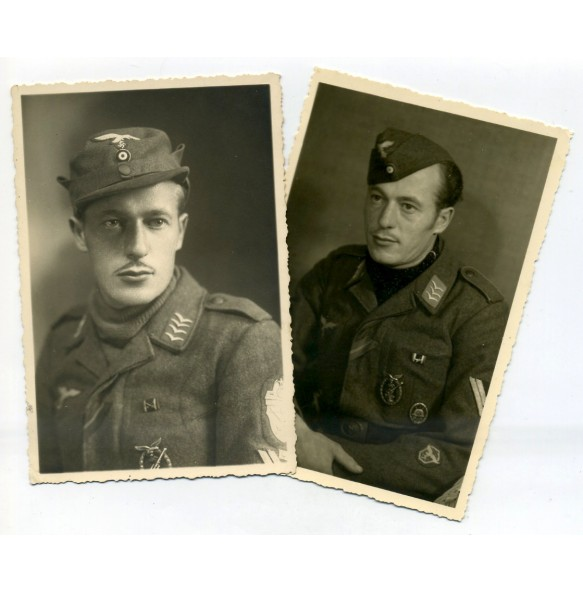 Portrait photos Luftwaffe flak Stabsgreiter with Demjansk shield