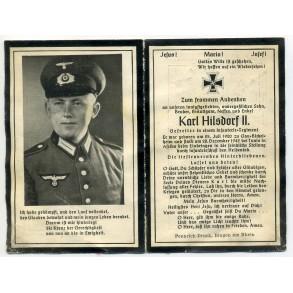 Death card to K. Hilsdorf II, KIA Tunis, Afrika 1942