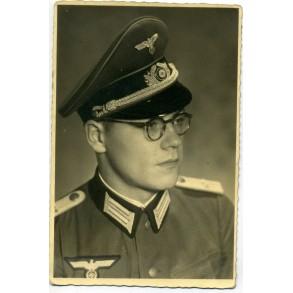 Portrait photo officer with visor cap