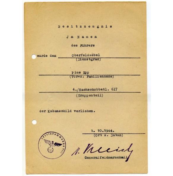 Kuban shield award document to OFeldw. P. Epp, member of the nachschubbatl. 617