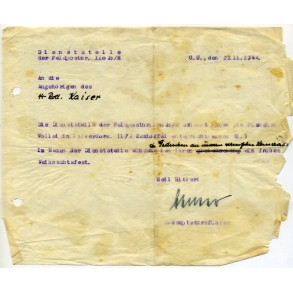 SS Christmas gift document, signed by SS-Hauptsturmführer, nov. 1944
