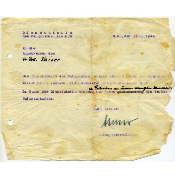 SS Christmas gift document, signed by SS-Hauptsturmführer, nov. 1944